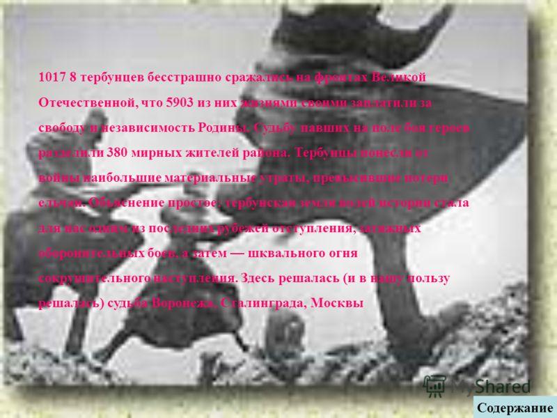 1017 8 тербунцев бесстрашно сражались на фронтах Великой Отечественной, что 5903 из них жизнями своими заплатили за свободу и независимость Родины. Судьбу павших на поле боя героев разделили 380 мирных жителей района. Тербунцы понесли от войны наибол