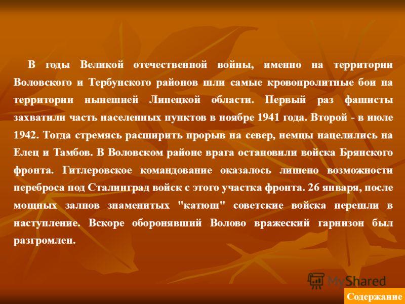 В годы Великой отечественной войны, именно на территории Воловского и Тербунского районов шли самые кровопролитные бои на территории нынешней Липецкой области. Первый раз фашисты захватили часть населенных пунктов в ноябре 1941 года. Второй - в июле