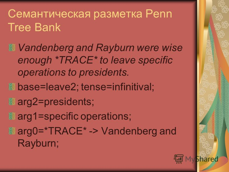 Семантическая разметка Penn Tree Bank Vandenberg and Rayburn were wise enough *TRACE* to leave specific operations to presidents. base=leave2; tense=infinitival; arg2=presidents; arg1=specific operations; arg0=*TRACE* -> Vandenberg and Rayburn;