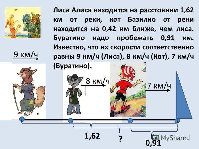Лиса Алиса находится на расстоянии 1,62 км от реки, кот Базилио от реки находится на 0,42 км ближе, чем лиса. Буратино надо пробежать 0,91 км. Известно, что их скорости соответственно равны 9 км/ч (Лиса), 8 км/ч (Кот), 7 км/ч (Буратино). 1,62 ? 0,91