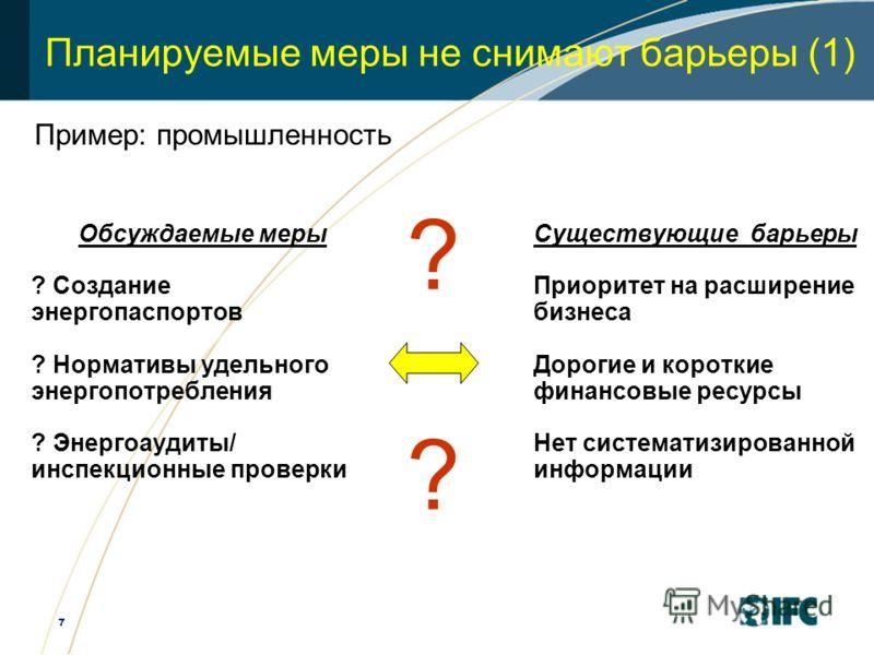 7 Планируемые меры не снимают барьеры (1) Обсуждаемые меры ? Создание энергопаспортов ? Нормативы удельного энергопотребления ? Энергоаудиты/ инспекционные проверки Существующие барьеры Приоритет на расширение бизнеса Дорогие и короткие финансовые ре