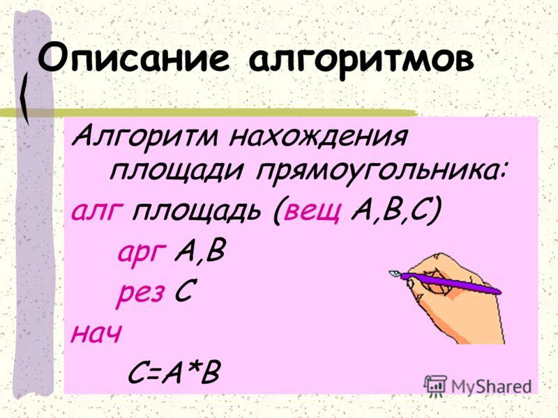 Описание алгоритмов Алгоритм нахождения площади прямоугольника: алг площадь (вещ А,В,С) арг А,В рез С нач С=А*В