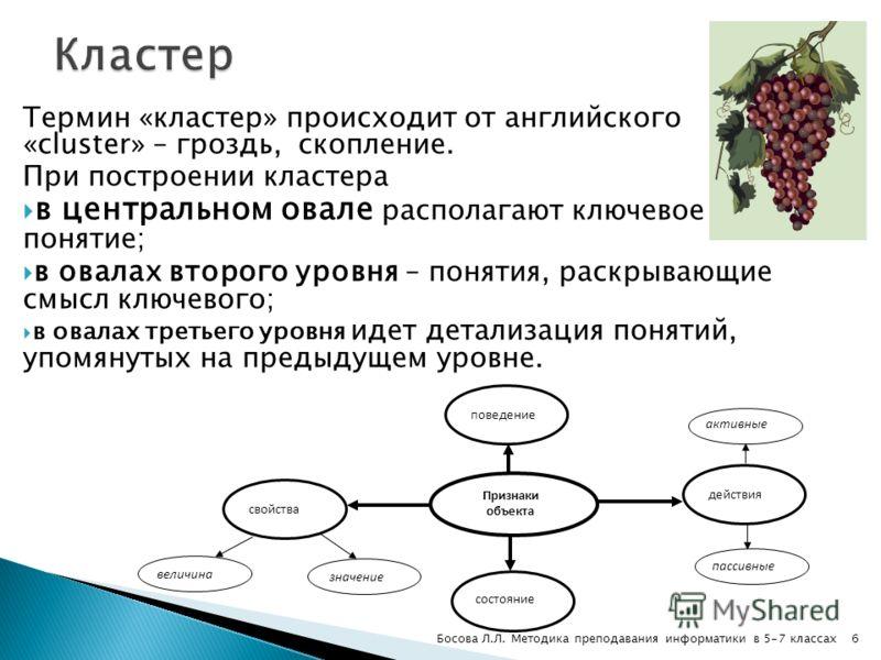 Термин «кластер» происходит от английского «cluster» – гроздь, скопление. При построении кластера в центральном овале располагают ключевое понятие; в овалах второго уровня – понятия, раскрывающие смысл ключевого; в овалах третьего уровня идет детализ