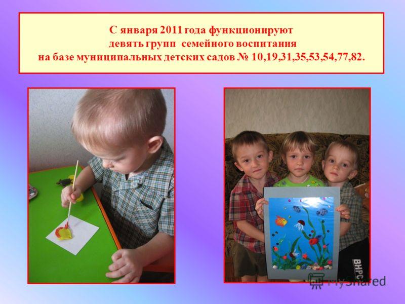 С января 2011 года функционируют девять групп семейного воспитания на базе муниципальных детских садов 10,19,31,35,53,54,77,82.