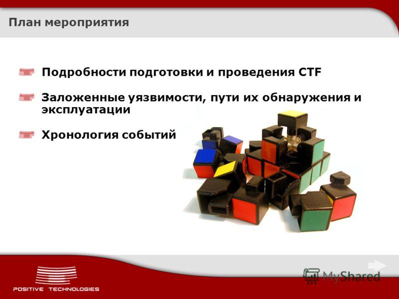 План мероприятия Подробности подготовки и проведения CTF Заложенные уязвимости, пути их обнаружения и эксплуатации Хронология событий