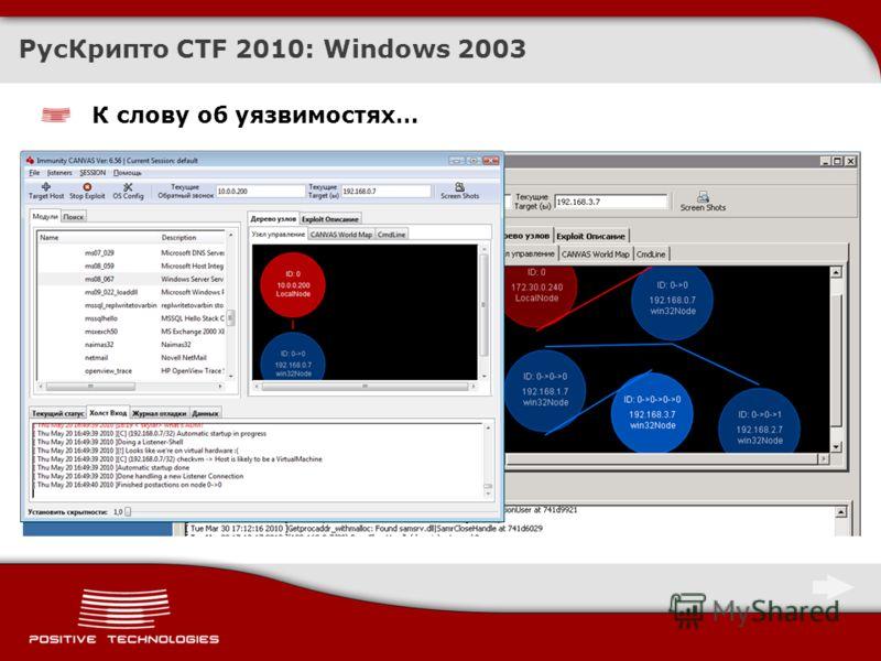 К слову об уязвимостях… РусКрипто CTF 2010: Windows 2003