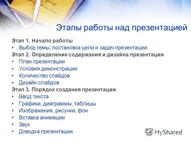 Этапы работы над презентацией Этап 1. Начало работы Выбор темы, постановка цели и задач презентации. Этап 2. Определение содержания и дизайна презентации План презентации Условия демонстрации Количество слайдов Дизайн слайдов Этап 3. Порядок создания