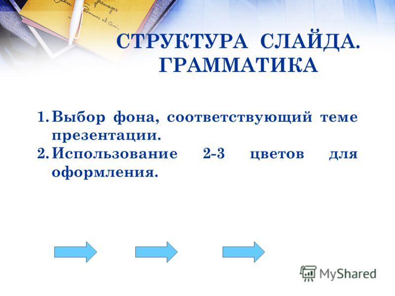 СТРУКТУРА СЛАЙДА. ГРАММАТИКА 1.Выбор фона, соответствующий теме презентации. 2.Использование 2-3 цветов для оформления.