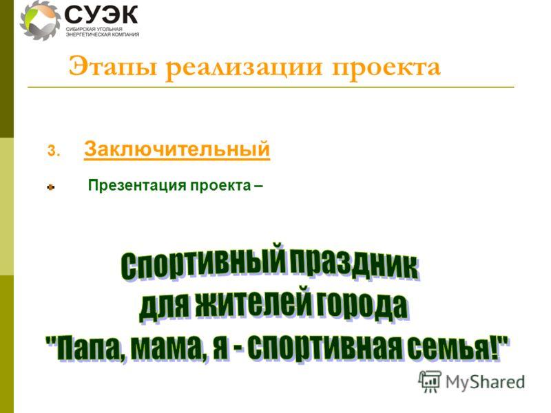 3. Заключительный Презентация проекта – Этапы реализации проекта