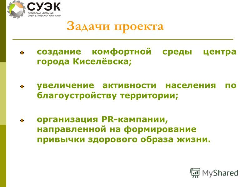 создание комфортной среды центра города Киселёвска; увеличение активности населения по благоустройству территории; организация PR-кампании, направленной на формирование привычки здорового образа жизни. Задачи проекта