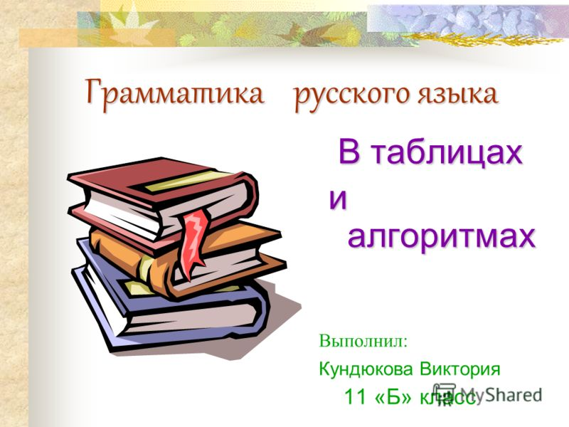 Грамматика русского языка В таблицах и алгоритмах и алгоритмах Выполнил: Кундюкова Виктория 11 «Б» класс