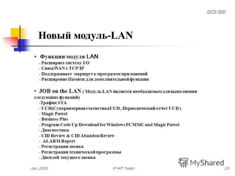 iDCS-500 Jan, 2002IP-KP Team22 Новый модуль SmartMedia(II) For the Product line (Normal processing) - SEC выпустит извещение об изменении, если одна из деталей. Входящих в SmartMedia будет изменена, и увеличит версию SmartMedia. Для усовершенствовант