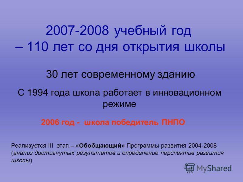 2007-2008 учебный год – 110 лет со дня открытия школы 30 лет современному зданию С 1994 года школа работает в инновационном режиме Реализуется III этап – «Обобщающий» Программы развития 2004-2008 (анализ достигнутых результатов и определение перспект