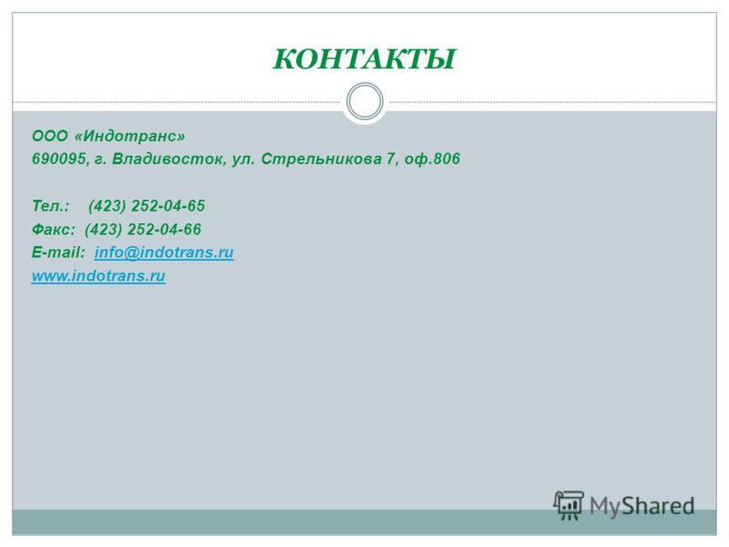КОНТАКТЫ ООО «Индотранс» 690095, г. Владивосток, ул. Стрельникова 7, оф.806 Тел.: (423) 252-04-65 Факс: (423) 252-04-66 E-mail: info@indotrans.ruinfo@indotrans.ru www.indotrans.ru
