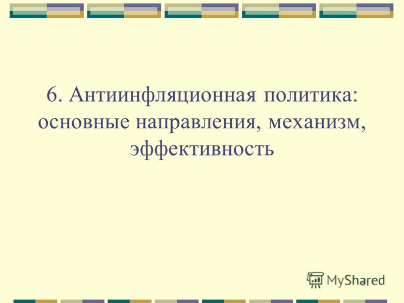 81 6. Антиинфляционная политика: основные направления, механизм, эффективность