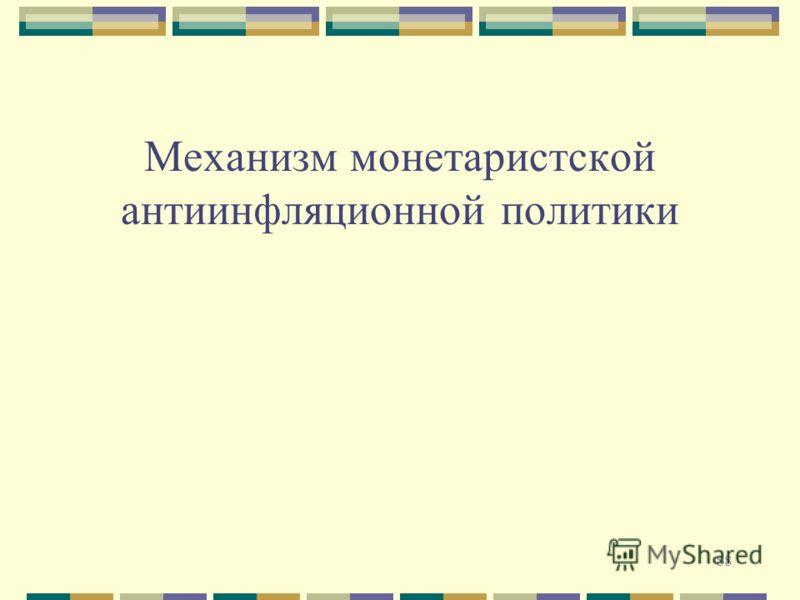 88 Механизм монетаристской антиинфляционной политики