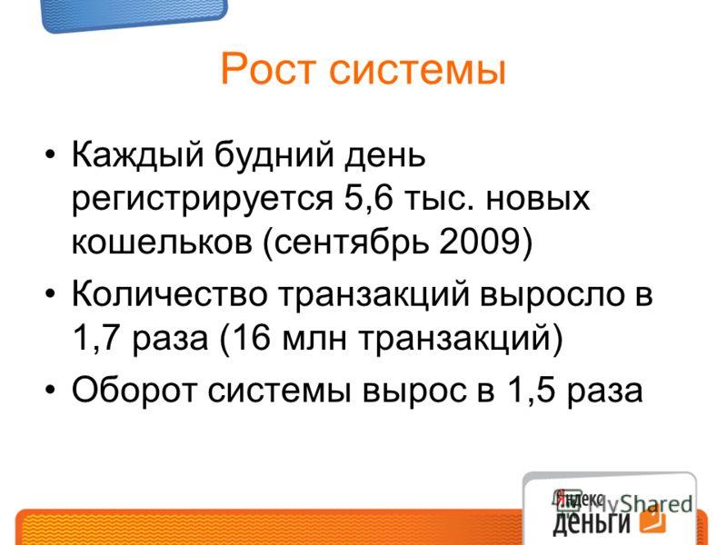Рост системы Каждый будний день регистрируется 5,6 тыс. новых кошельков (сентябрь 2009) Количество транзакций выросло в 1,7 раза (16 млн транзакций) Оборот системы вырос в 1,5 раза