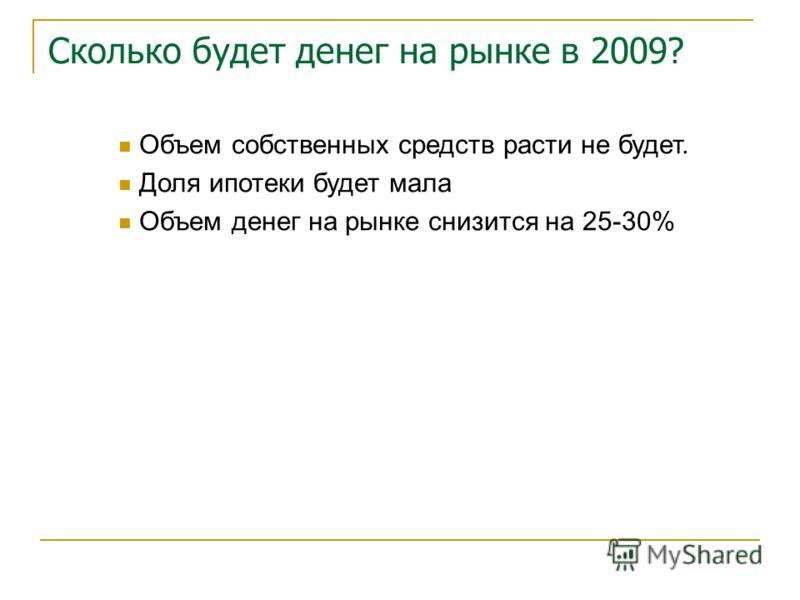 Сколько будет денег на рынке в 2009? Объем собственных средств расти не будет. Доля ипотеки будет мала Объем денег на рынке снизится на 25-30%