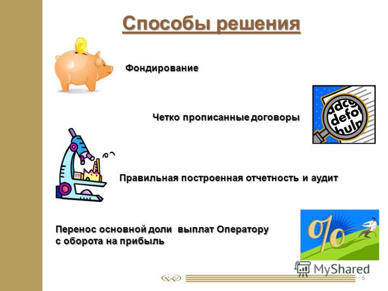 6 Способы решения Фондирование Перенос основной доли выплат Оператору с оборота на прибыль Четко прописанные договоры Правильная построенная отчетность и аудит