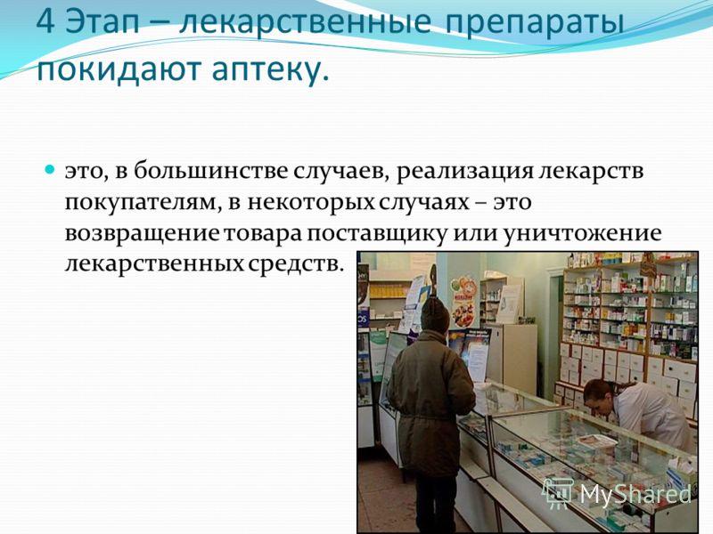 4 Этап – лекарственные препараты покидают аптеку. это, в большинстве случаев, реализация лекарств покупателям, в некоторых случаях – это возвращение товара поставщику или уничтожение лекарственных средств.