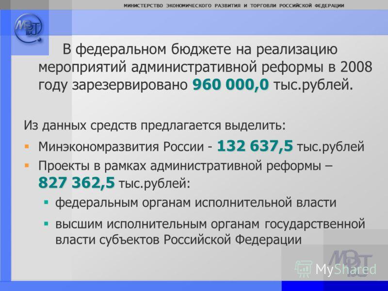 Page: 3 МИНИСТЕРСТВО ЭКОНОМИЧЕСКОГО РАЗВИТИЯ И ТОРГОВЛИ РОССИЙСКОЙ ФЕДЕРАЦИИ 960 000,0 В федеральном бюджете на реализацию мероприятий административной реформы в 2008 году зарезервировано 960 000,0 тыс.рублей. Из данных средств предлагается выделить: