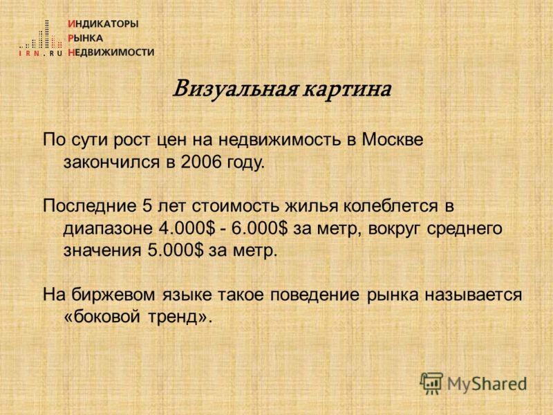 Визуальная картина По сути рост цен на недвижимость в Москве закончился в 2006 году. Последние 5 лет стоимость жилья колеблется в диапазоне 4.000$ - 6.000$ за метр, вокруг среднего значения 5.000$ за метр. На биржевом языке такое поведение рынка назы