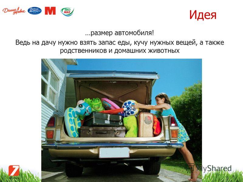 7 Идея …размер автомобиля! Ведь на дачу нужно взять запас еды, кучу нужных вещей, а также родственников и домашних животных