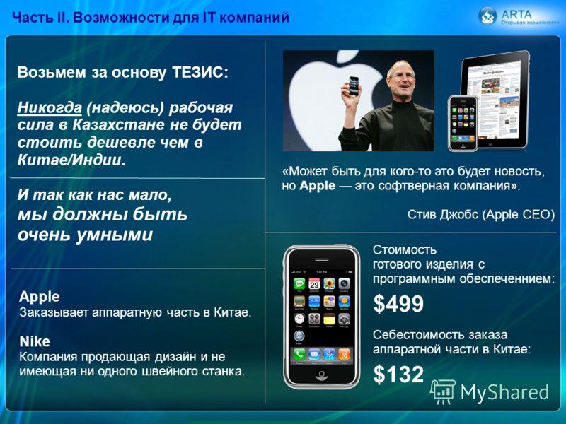 «Может быть для кого-то это будет новость, но Apple это софтверная компания». Стив Джобс (Apple CEO) Часть II. Возможности для IT компаний Себестоимость заказа аппаратной части в Китае: Стоимость готового изделия c программным обеспеченнием: $499 $13