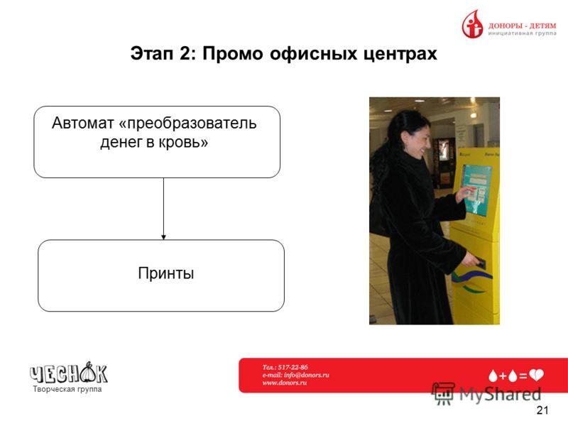 Творческая группа 21 Этап 2: Промо офисных центрах Автомат «преобразователь денег в кровь» Принты