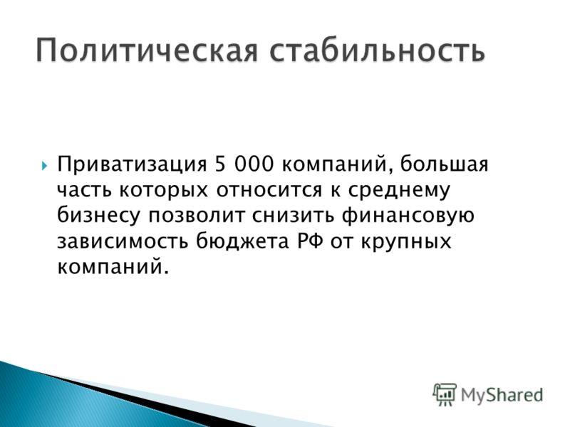 Приватизация 5 000 компаний, большая часть которых относится к среднему бизнесу позволит снизить финансовую зависимость бюджета РФ от крупных компаний.