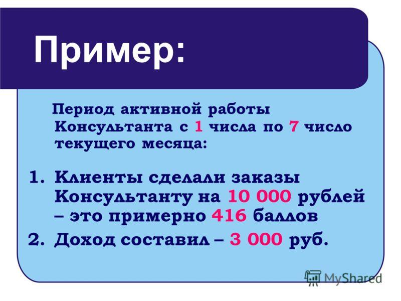 Период активной работы Консультанта с 1 числа по 7 число текущего месяца: 1.Клиенты сделали заказы Консультанту на 10 000 рублей – это примерно 416 баллов 2.Доход составил – 3 000 руб. Пример: