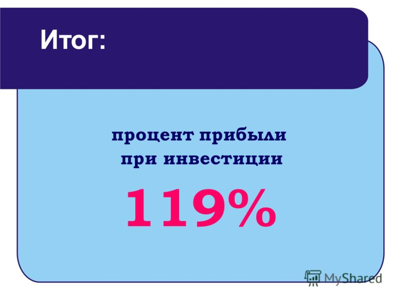 процент прибыли при инвестиции 119% Итог: