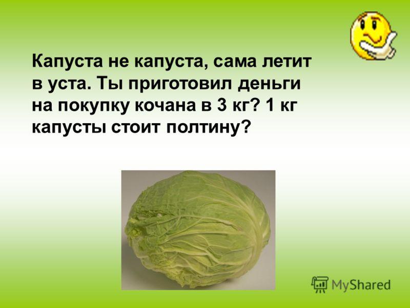 Капуста не капуста, сама летит в уста. Ты приготовил деньги на покупку кочана в 3 кг? 1 кг капусты стоит полтину?