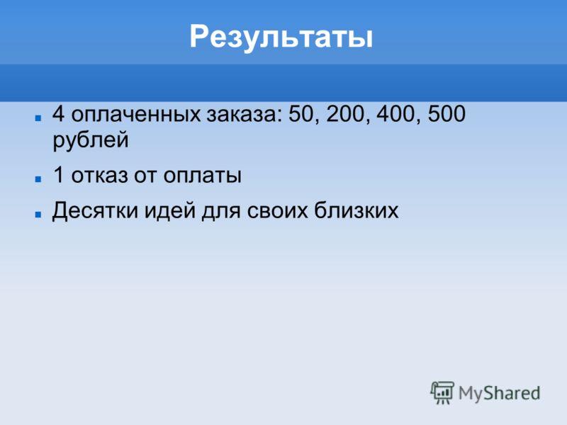 Результаты 4 оплаченных заказа: 50, 200, 400, 500 рублей 1 отказ от оплаты Десятки идей для своих близких