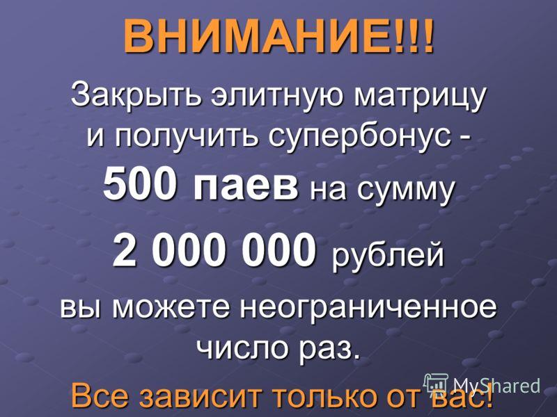 ВНИМАНИЕ!!! Закрыть элитную матрицу и получить супербонус - 500 паев на сумму 2 000 000 рублей вы можете неограниченное число раз. Все зависит только от вас! Все зависит только от вас!