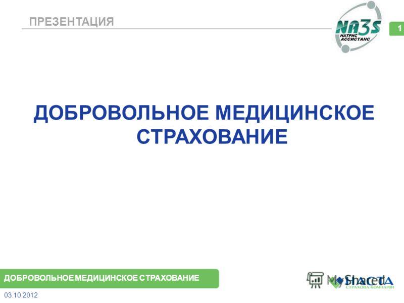 ПРЕЗЕНТАЦИЯ ДОБРОВОЛЬНОЕ МЕДИЦИНСКОЕ СТРАХОВАНИЕ 08.08.2012 1 ДОБРОВОЛЬНОЕ МЕДИЦИНСКОЕ СТРАХОВАНИЕ