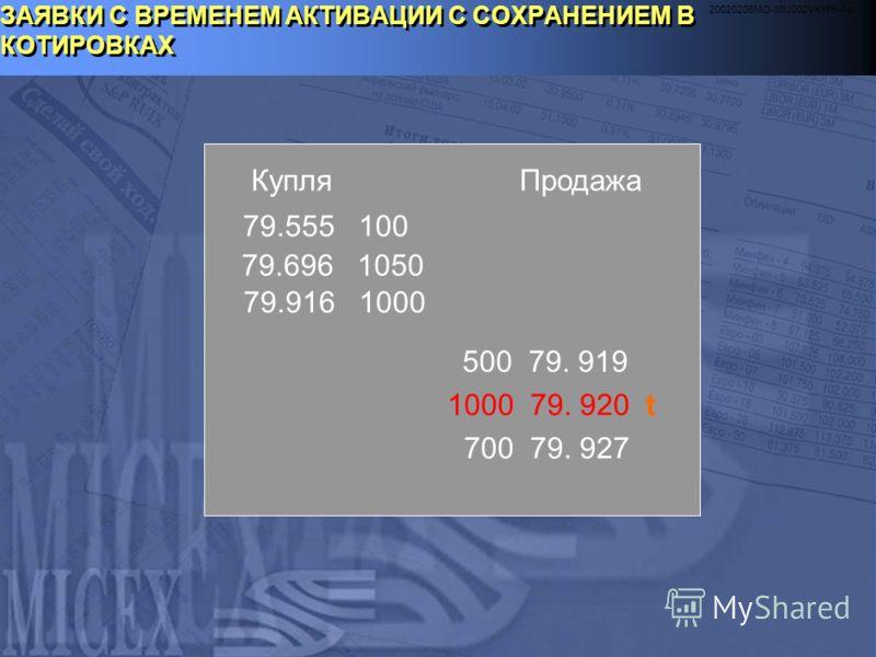 20020206MO-MIJ002VK1fm-r-c ИСПОЛНЕНИЕ СДЕЛОК С КОДОМ РАСЧЕТОВ Sn 1. Поставка-против-платежа 2. Заявки-поручения на исполнение 3. Зачет встречных однородных обязательств/требований 4. В случае неисполнения сделки Инвестором его замещает Дилер 5. Неисп