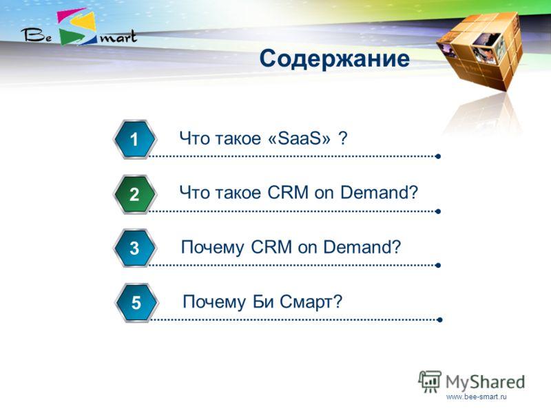www.bee-smart.ru Содержание Что такое «SaaS» ? 1 Что такое CRM on Demand? 2 Почему CRM on Demand? 3 Почему Би Смарт? 5