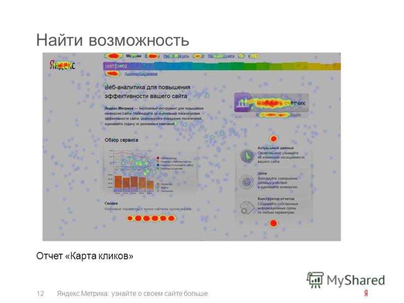 Найти возможность Отчет «Карта кликов» 12Яндекс.Метрика: узнайте о своем сайте больше