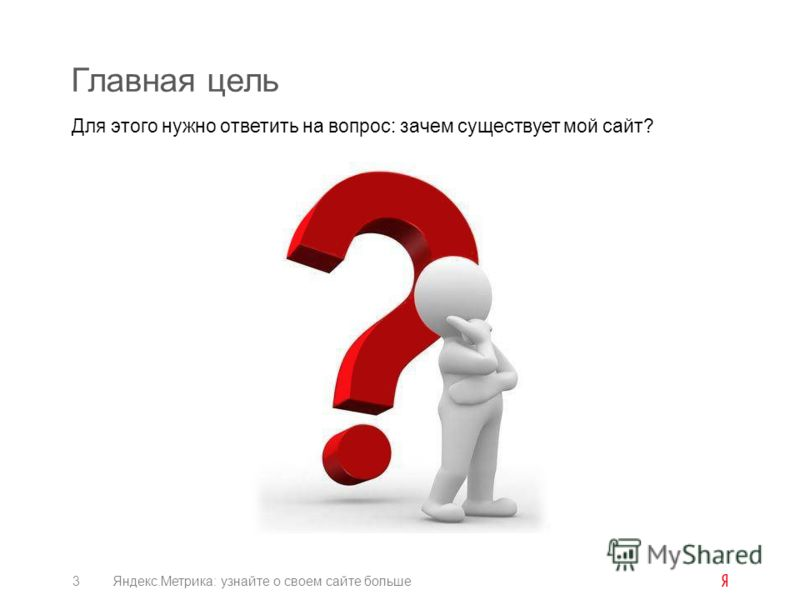 Главная цель Для этого нужно ответить на вопрос: зачем существует мой сайт? 3Яндекс.Метрика: узнайте о своем сайте больше