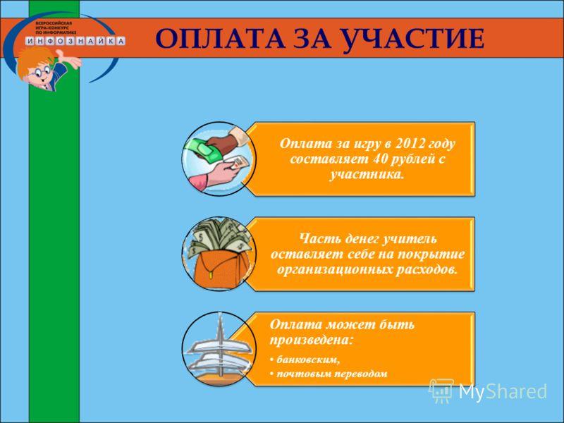 ОПЛАТА ЗА УЧАСТИЕ Оплата за игру в 2012 году составляет 40 рублей с участника. Часть денег учитель оставляет себе на покрытие организационных расходов. Оплата может быть произведена: банковским, почтовым переводом