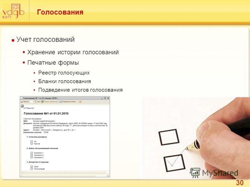 30 Голосования Учет голосований Хранение истории голосований Печатные формы Реестр голосующих Бланки голосования Подведение итогов голосования