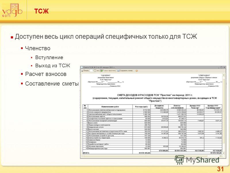 31 ТСЖ Доступен весь цикл операций специфичных только для ТСЖ Членство Вступление Выход из ТСЖ Расчет взносов Составление сметы