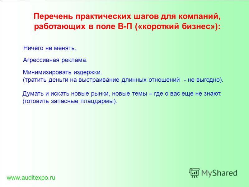 www.auditexpo.ru Перечень практических шагов для компаний, работающих в поле В-П («короткий бизнес»): Ничего не менять. Агрессивная реклама. Минимизировать издержки. (тратить деньги на выстраивание длинных отношений - не выгодно). Думать и искать нов