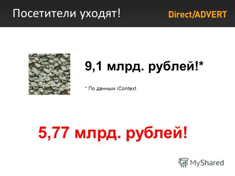 Посетители уходят! 9,1 млрд. рублей!* * По данным iContext 5,77 млрд. рублей!
