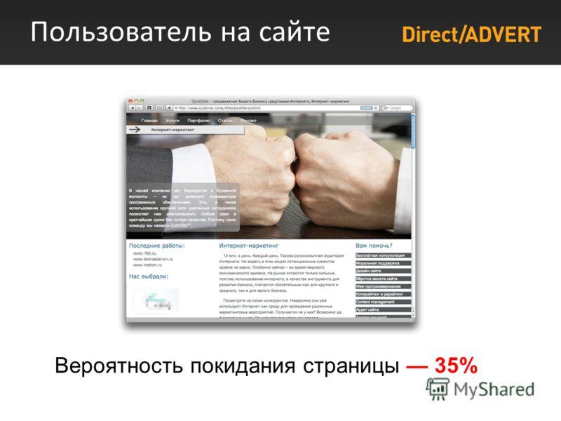 Пользователь на сайте Вероятность покидания страницы 35%