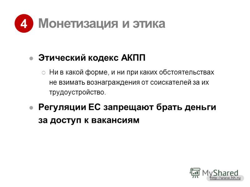 4 http://www.hh.ru Монетизация и этика Этический кодекс АКПП Ни в какой форме, и ни при каких обстоятельствах не взимать вознаграждения от соискателей за их трудоустройство. Регуляции ЕС запрещают брать деньги за доступ к вакансиям