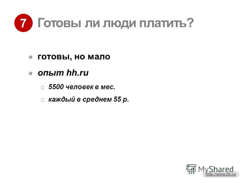 7 http://www.hh.ru Готовы ли люди платить? готовы, но мало опыт hh.ru 5500 человек в мес. каждый в среднем 55 р.