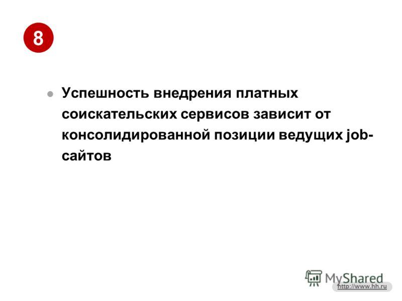 8 http://www.hh.ru Успешность внедрения платных соискательских сервисов зависит от консолидированной позиции ведущих job- сайтов
